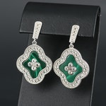 Sterling Silver Malachite and Topaz Dangle Earrings
