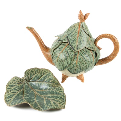 Lynn Fisher Pottery Leaf Teapot and Plate