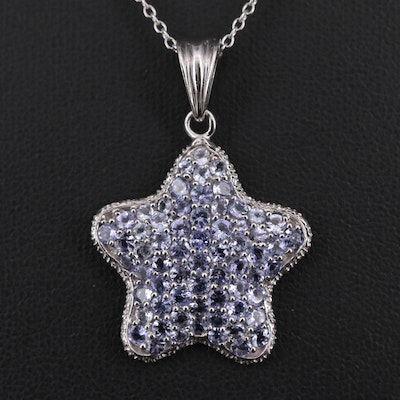 Sterling Silver Tanzanite Star Pendant Necklace