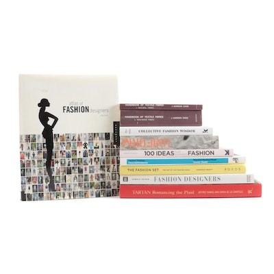 "Textile and Fashion Books Including ""Atlas of Fashion Designers"" by Laura Eceiza"
