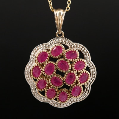 Sterling Silver and Corundum Pendant Necklace