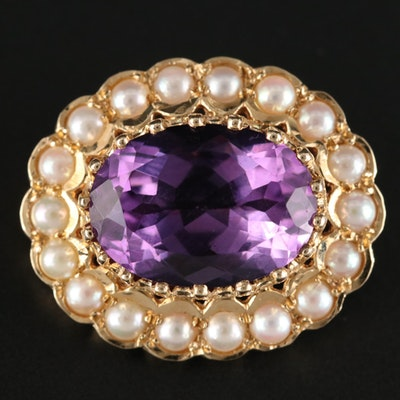 English 14K Yellow Gold Amethyst and Cultured Pearl Brooch