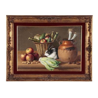 """Francisco Bernal del Rio Still Life Oil Painting """"Bunny Rabbit"""", 1969"""