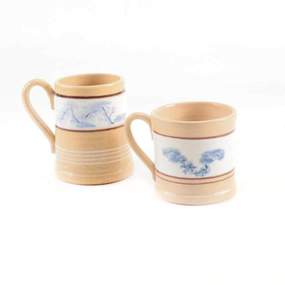 East Knoll North Colonial Style Yellowware Mug and Tankard, 1990
