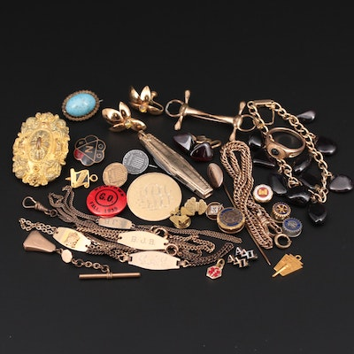 Antique and Vintage Jewelry Assortment Including Pocket Knife