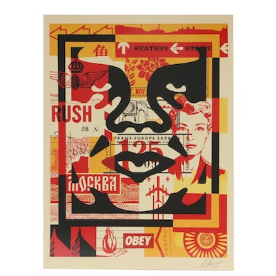 """Shepard Fairey Offset Poster """"OBEY 3-Face Collage,"""" 2019"""