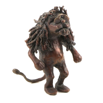Brass and Metal with Bronze Patina Lion Statue