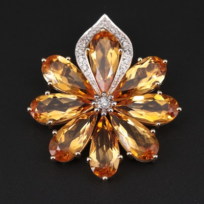 14K Yellow Gold Citrine and Diamond Floral Converter Brooch