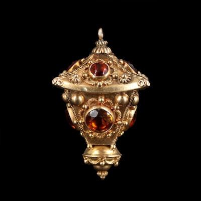 Etruscan 14K Yellow Gold Citrine Pendant