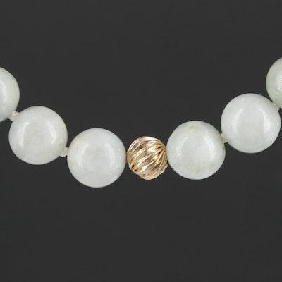 14K Yellow Gold Jadeite Endless Necklace