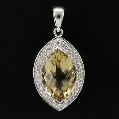 14K White Gold Diamond and Citrine Pendant