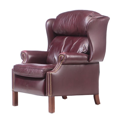 Hancock & Moore Leather Upholstered Wing Back Recliner, Late 20th Century