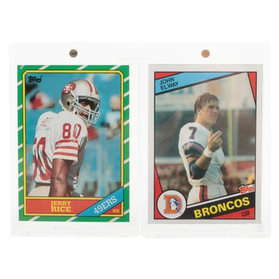 John Elway and Jerry Rice Topps Rookie Cards, circa 1980s
