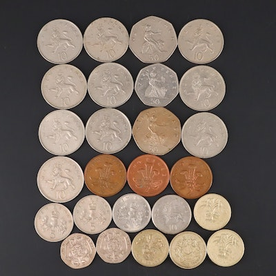 Twenty-Six Coins From Great Britain From the 70s and 80s
