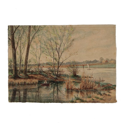 River Landscape Watercolor Painting, 1892