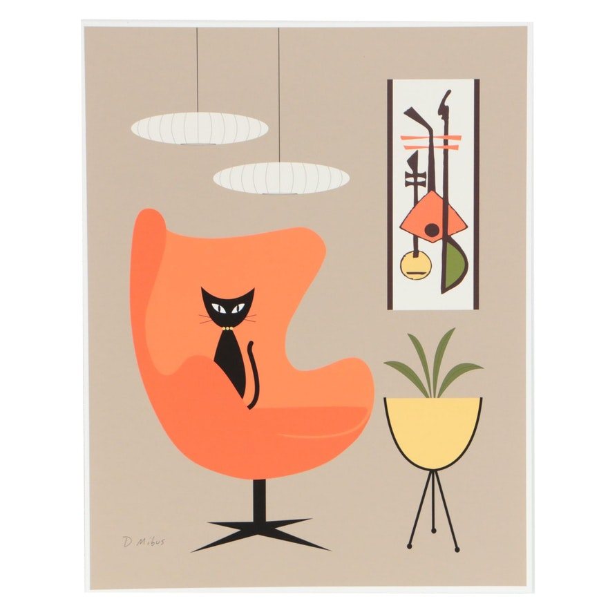Donna Mibus Digital Print Mid Century Modern Style Cat in Orange Chair