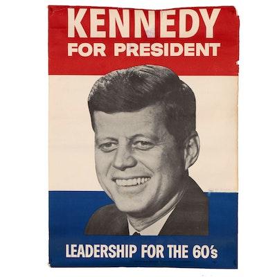 """""""Kennedy For President"""" JFK Presidential Election Poster, 1960"""