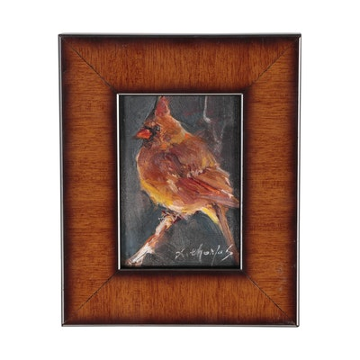 X. Thomas MIniature Oil Painting of Cardinal