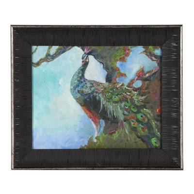 Rebecca Manns Oil Painting of Peacock