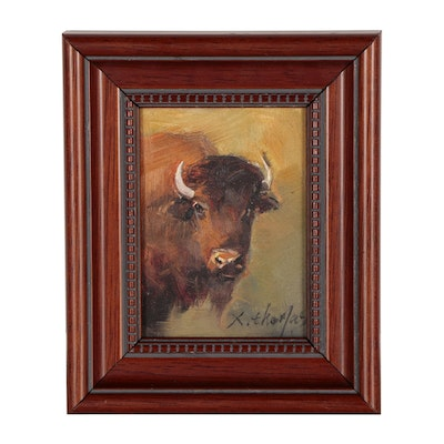 X. Thomas Miniature Oil Painting of Bison