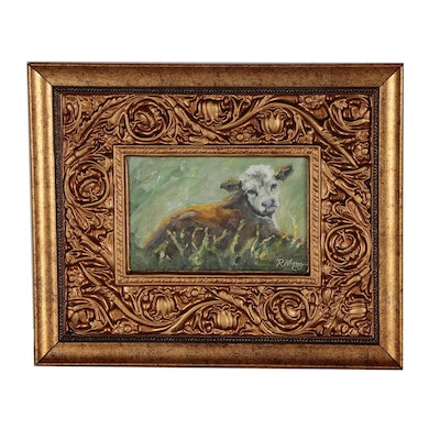 Rebecca Manns Oil Painting of Cow in Pasture