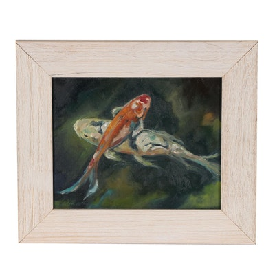 Rebecca Manns Oil Painting of Koi Fish