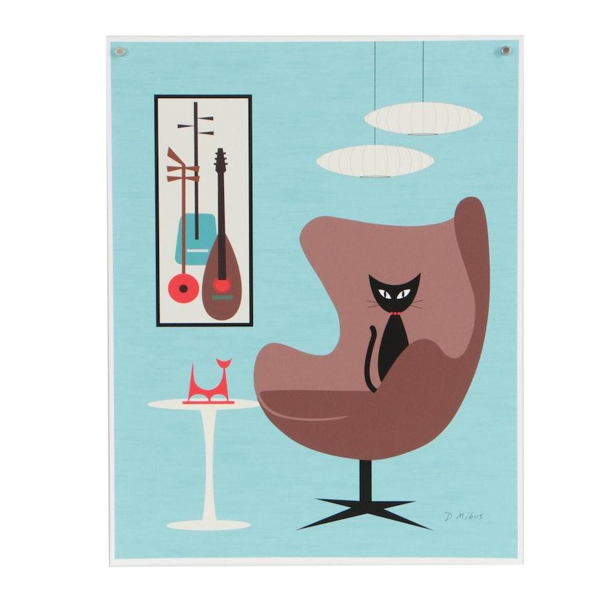 Donna Mibus Digital Print Mid Century Modern Style Cat in Brown Chair