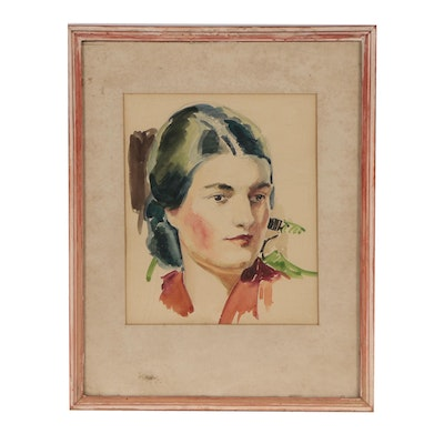 Robert Whitmore Watercolor Portrait of Woman