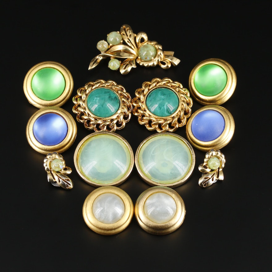 Assorted Art Glass Clip-On Earrings Including Vintage Mazer Earrings and Brooch