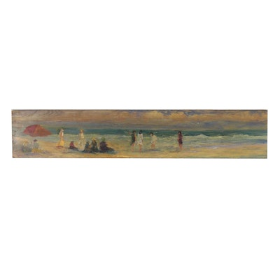 Panoramic Beach Scene Oil Painting, Mid to Late 20th Century