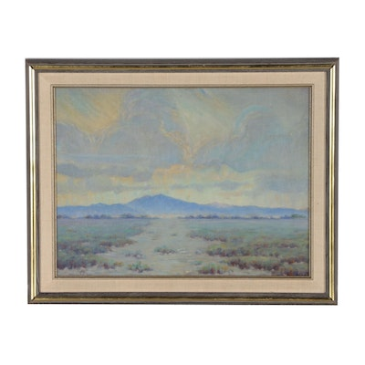 "Western Landscape Oil Painting after John Frost ""Nevada Mountain Sky"""