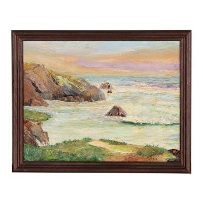 Coastline Landscape Oil Painting, Late 20th Century