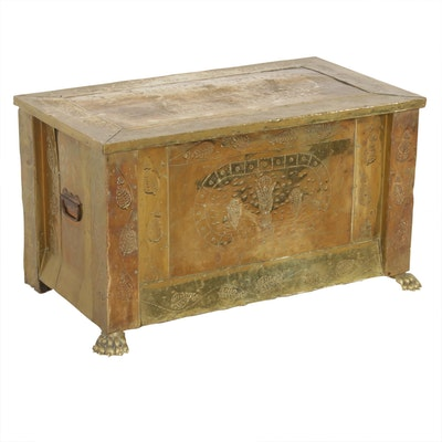 Brass Clad Wooden Kindling Box, Early 20th Century
