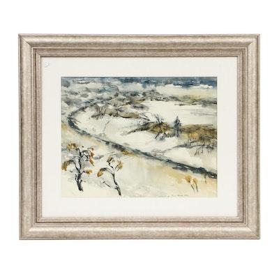 Frank Leonard Allen Landscape Watercolor Painting, 1933