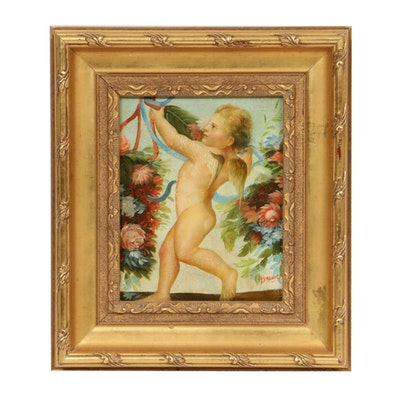 Oil Painting of Cherub, Late 19th to Early 20th Century