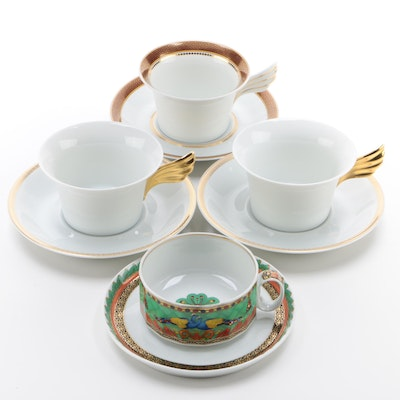 Versace for Rosenthal Porcelain Teacups and Saucers, Contemporary