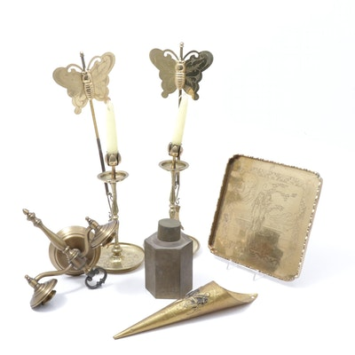 Brass Candlesticks, Etched Serving Tray, Tea Caddy and Other Décor