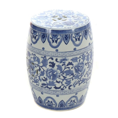 East Asian Blue and White Floral Garden Stool