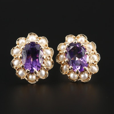 English 14K Yellow Gold Amethyst and Seed Pearl Stud Earrings