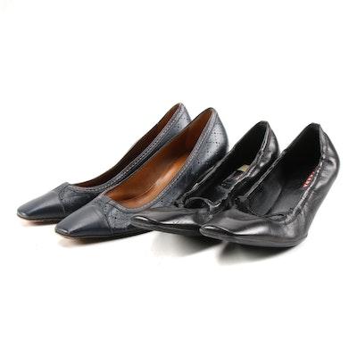 Prada Black Leather Ballet Heels and Bruno Magli Navy Blue Leather Pumps