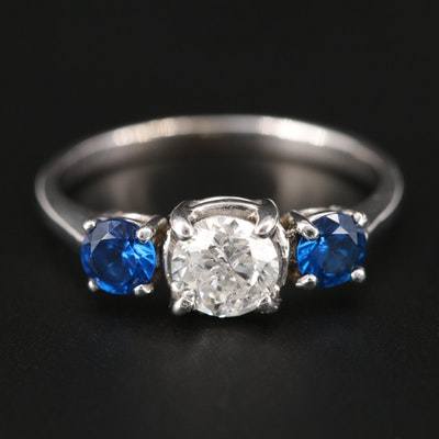 14K White Gold Diamond and Spinel Ring