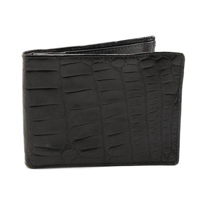 Calvin Klein American Alligator Skin and Leather Bifold Wallet in Black