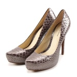 Alexandre Birman Metallic Steel Grey Python Skin Platform High Heel Pumps