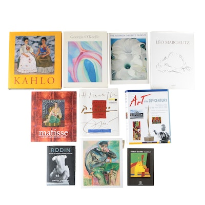 Art Books Featuring Georgia O'Keeffe, Frida Kahlo, and Henri Matisse