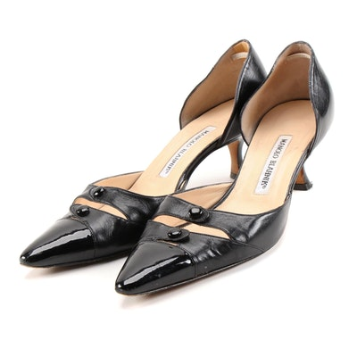 Manolo Blahnik Black Leather D'Orsay Pumps with Patent Leather Cap Toes