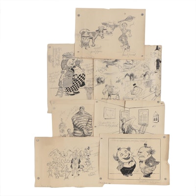 Frances Ingalls Pen & Ink Academic Cartoon Illustrations