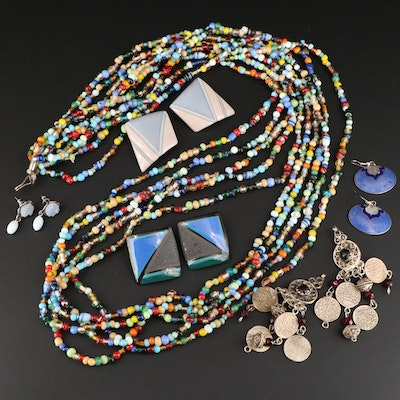 Assorted Earrings and Multi-Strand Necklace Featuring Ceramic Earrings