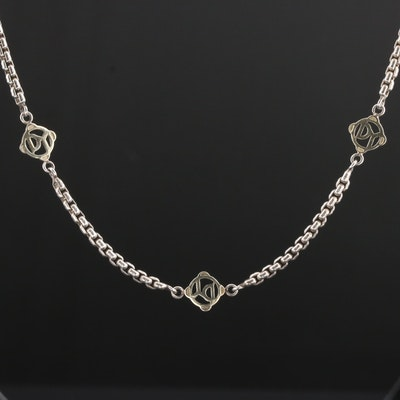 David Yurman Sterling Chain with 14K Yellow Gold Stations