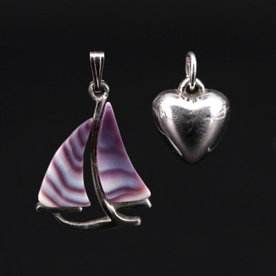 Clam Shell Sailboat and Puff Heart Pendants