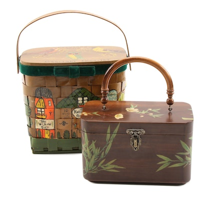 Bamboo Motif Box Purse and Hand-Painted Town-Themed Basket Purse